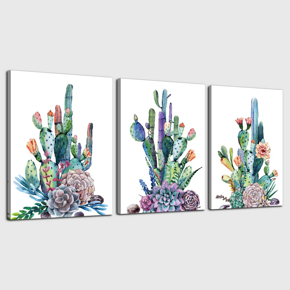 """Canvas Art Simple Life Green Cactus Desert Plant Painting Wall Art Decor 16"""" x 24"""" 3 Pieces Framed Canvas Prints Watercolor Ready to Hang for Home Decoration Living Room Bedroom Bathroom Artwork"""