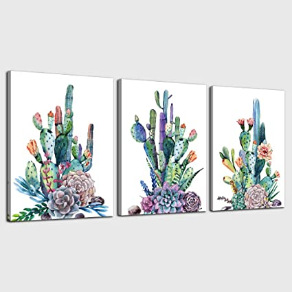 Canvas Art Simple Life Green Cactus Desert Plant Painting Wall Art Decor 16 X 24 3 Pieces Framed Canvas Prints Watercolor Ready To Hang For Home