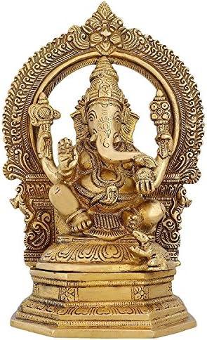 Indian Art Ganesha Statue Large Brass Figurines Hindu Temple Puja Mandir 9.5 inch -3.12 kg