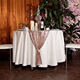 3e Home 12x120 Sequin Table Runner for Party Dinner Banquet, Rose Gold