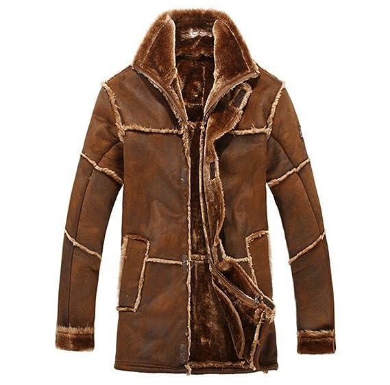 Chaqueta de piel sintética, abrigo cálido de lujo para invierno, chaqueta de ante, para hombre: Amazon.es: Ropa y accesorios