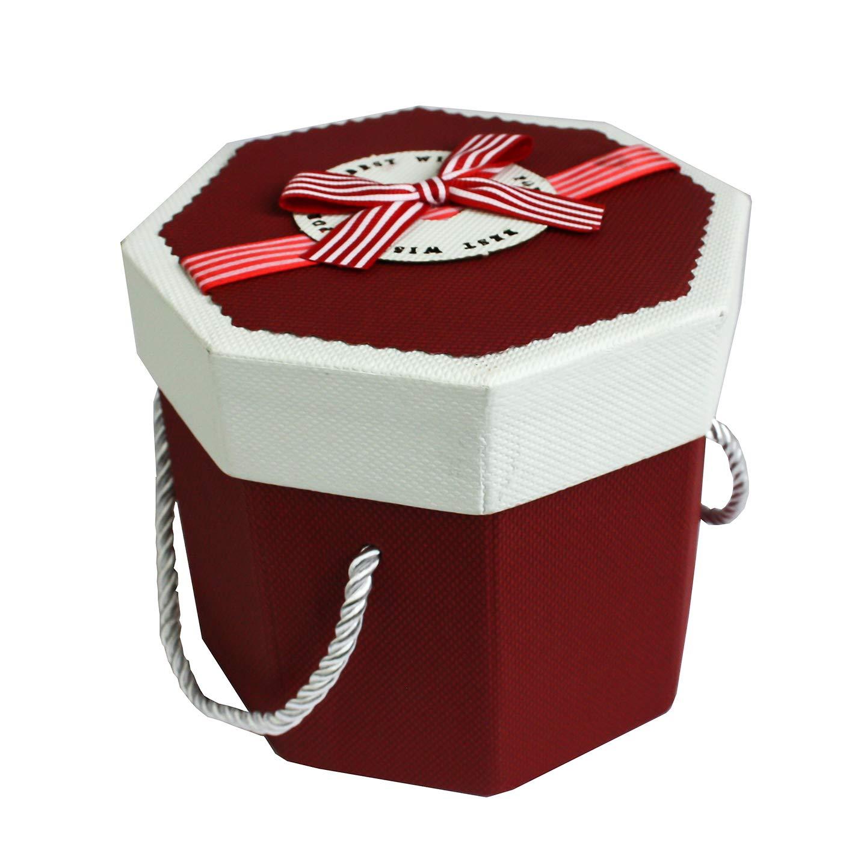 Emartbuy Starrer Luxus Achteck Pr/äsentation Geschenkbox Dunkelblaue Box mit Strukturiertem Deckel Schokoladenbrauner Innenraum und Gestreifter Schleife Dekoratives Finish