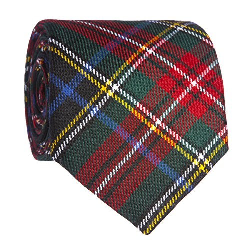 Stewart Black Modern Wool Plaid Neck Tie Made in Scotland (Black Tartan Stewart)
