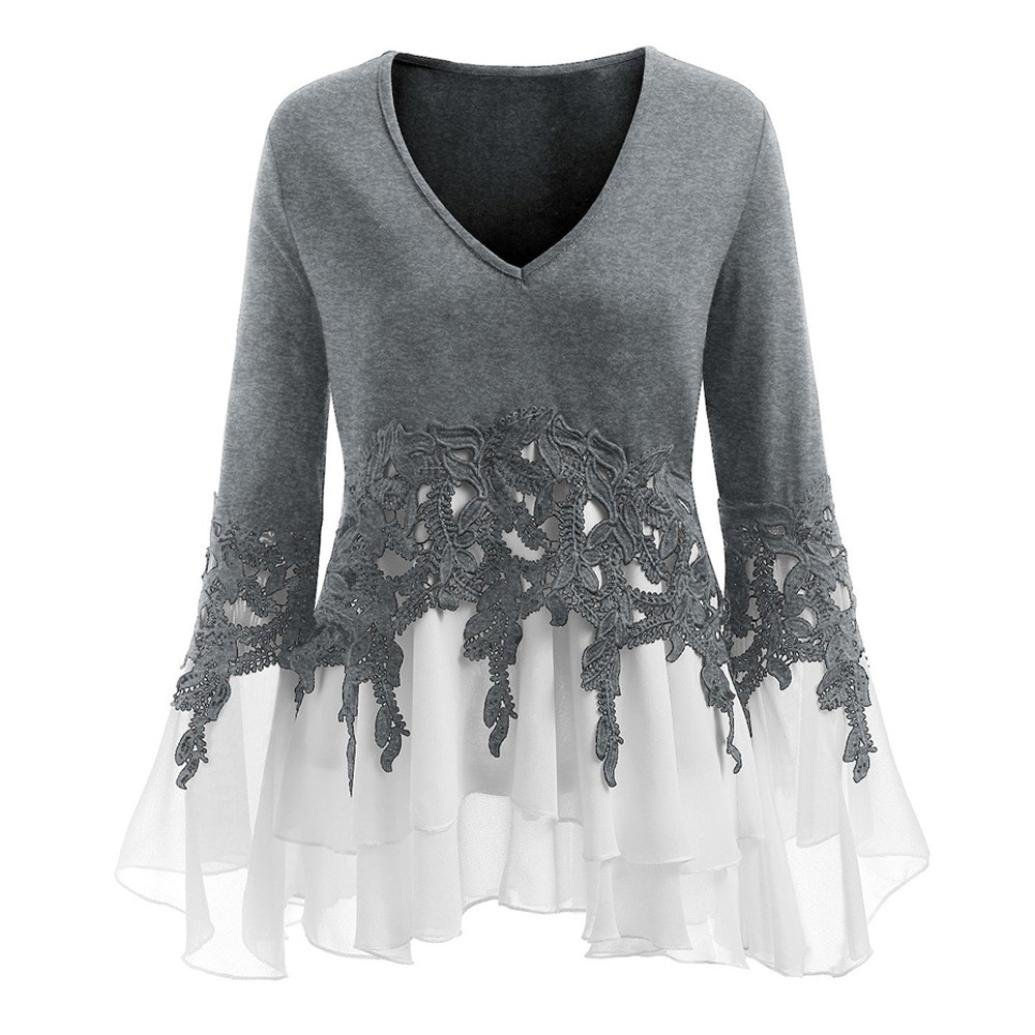 vermers Hot Sale Fashion Womens Tops Casual Applique Flowy Chiffon V-neck Long Sleeve Blouse(3XL, Gray)