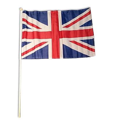 Union Jack en un Palo de Madera - Bandera Británica del Reino Unido ...