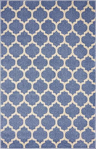 - Unique Loom Trellis Collection Moroccan Lattice Light Blue Area Rug (4' 0 x 6' 0)