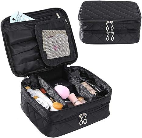 Makeup bag Bolsa de cosméticos Estuche de Maquillaje Estuche de Tren con divisores Ajustables Doble Impermeable portátil con Almacenamiento de Cepillo para Hombre Mujer Viaje cosmético Bolso: Amazon.es: Deportes y aire libre