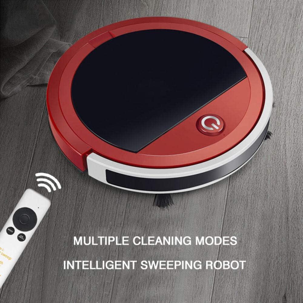 JINGMAN Balayeuse Robot Maison Automatique Intelligente Télécommande Ultra-Mince Aspirateur Rechargeable Machine De Nettoyage De Plancher, Blanc Rouge