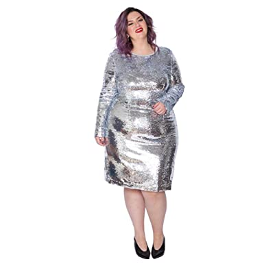 Astra Signature Women\'s Plus Size Glitter Long Sleeve Bodycon ...