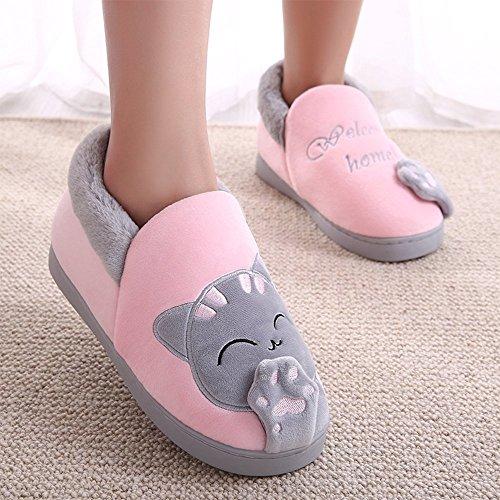 Wärmehausschuhe B Pink Hausschuhe Hause Slippers mit Minetom Indoor Cartoon für Warme Damen Baumwolle Winter Plüsch Katze Damen Home Rutschfeste Herren Bxqwp6U