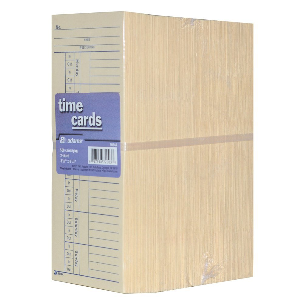 Adams Time Cards Employee Punch Payroll Amano Clock 2-Sided - 500 Count