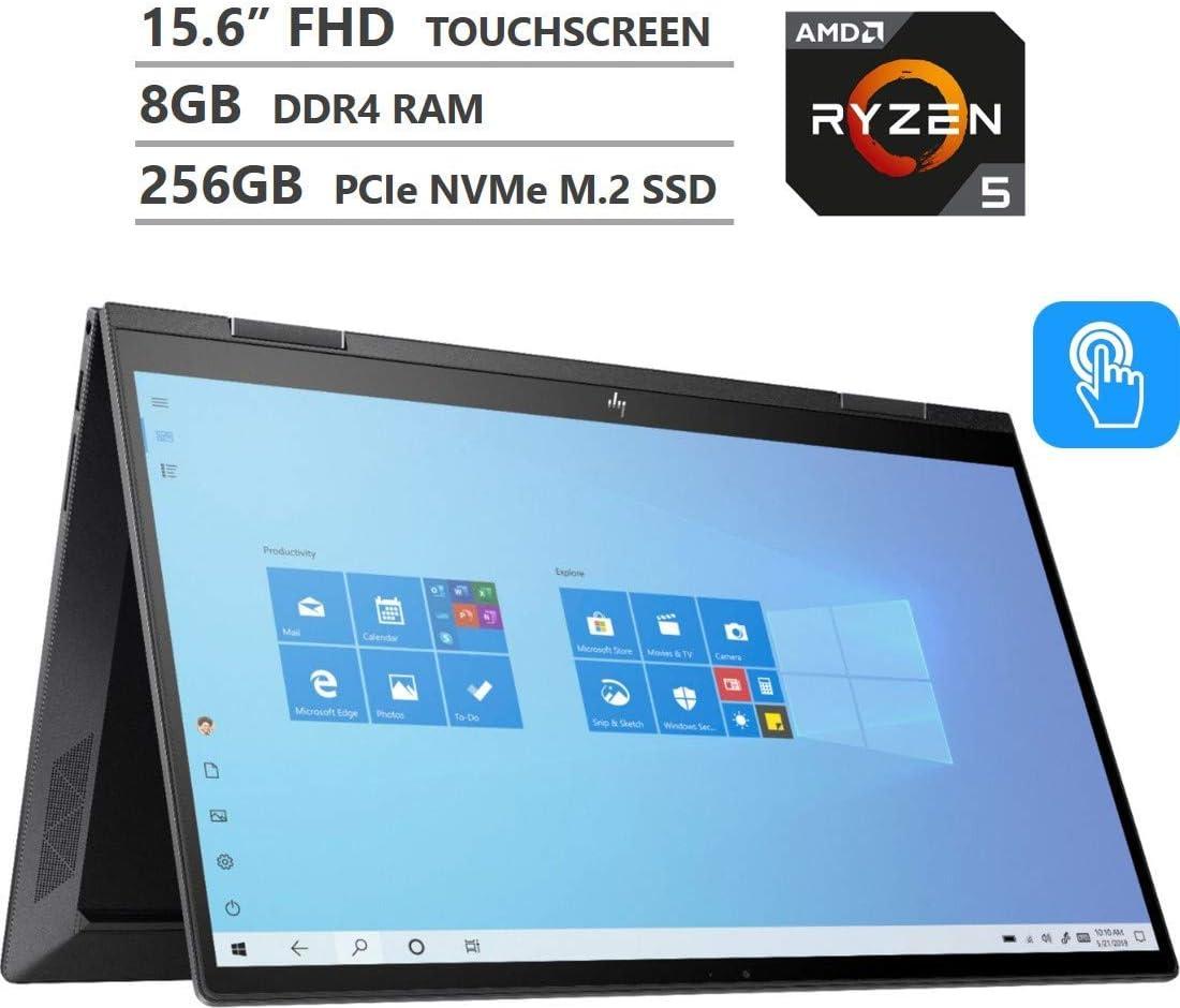 Newest HP Envy x360 2-in-1 Laptop, 15.6 inches FHD Touchscreen, AMD Ryzen 5 4500U Processor up to 4.0GHz, 8GB RAM, 256GB PCIe SSD, Backlit Keyboard, HDMI, Wi-Fi, Win 10, Nightfall Black (Renewed)