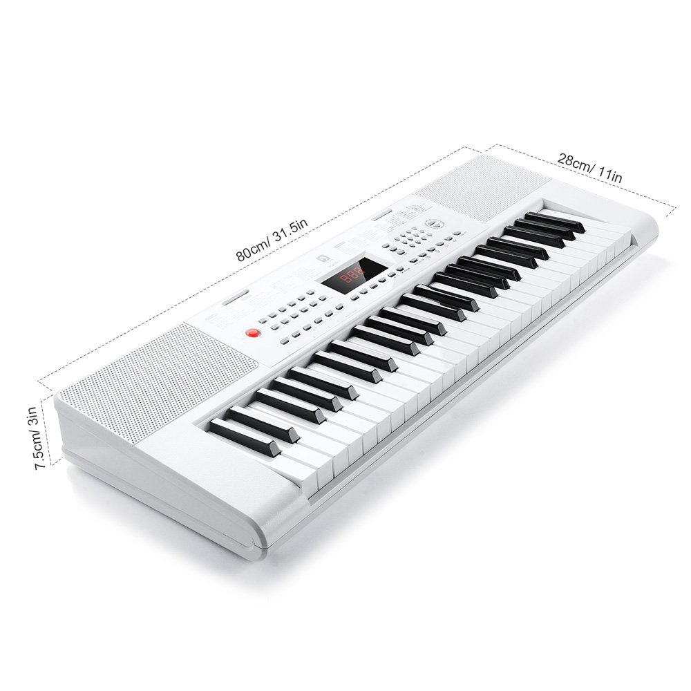 Electronic Keyboard Piano, 49-Lighted Key Electric Piano Keyboard with 3 Teaching Mode, Microphone, 200 Tones, 200 Rhythm, 50 Demo Songs, 5 Percussion, White by Vangoa (Image #2)
