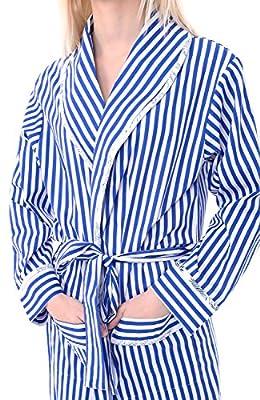 Alexander Del Rossa Womens Striped Cotton Summer Robe, Lightweight House Coat for Her