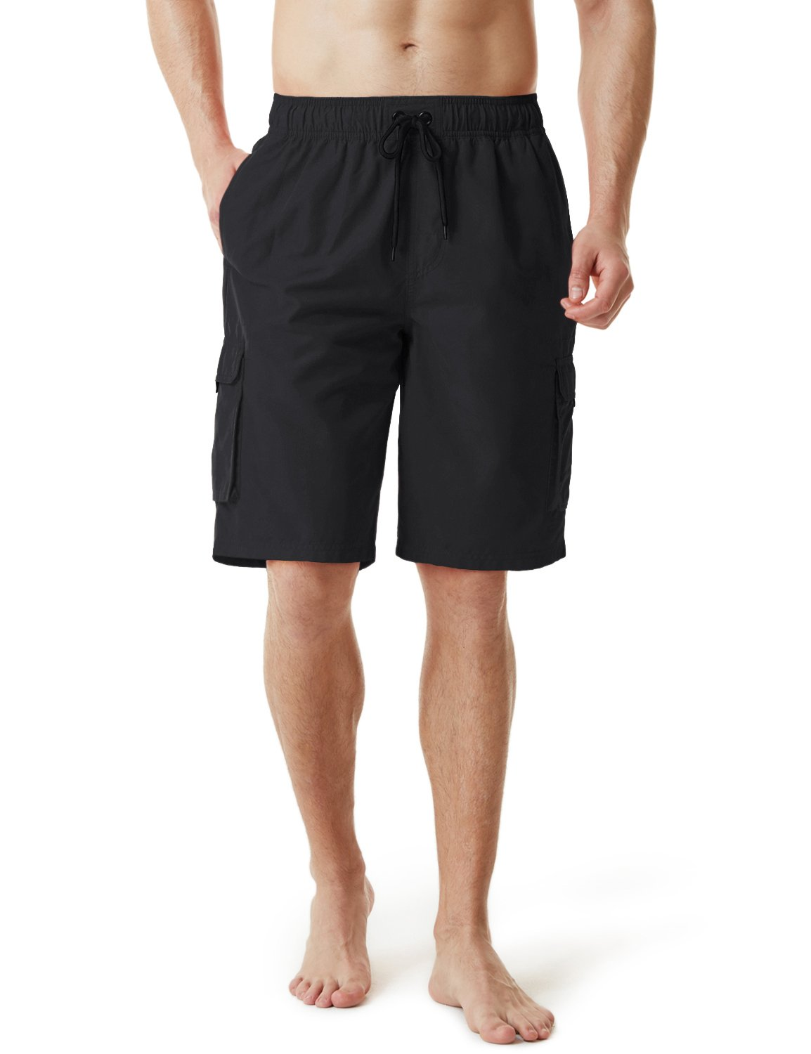 Tesla TM-MSB01-BLK_Medium Men's SwimTrunks Quick Dry Water Beach MSB01