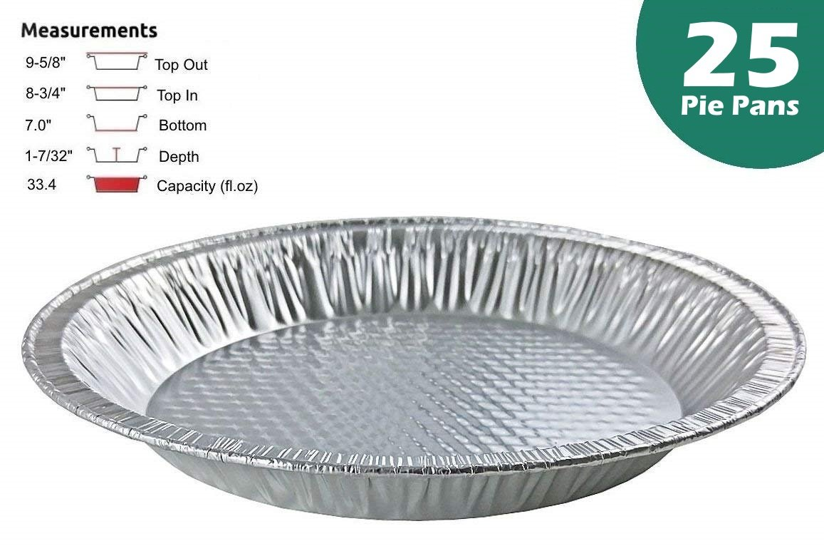 Handi-Foil 10'' (Actual Top-Out 9-5/8 Inches - Top-In 8-3/4 Inches) Aluminum Foil Pie Pan - Disposable Baking Tin Plates (Pack of 25)
