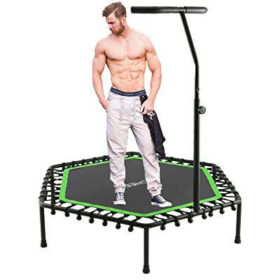 "ANCHEER Mini Trampoline, Rebounder for Adults Kids Fitness, 50"" Trampolines Trainer with Adjustable Handle Bar for Indoor/Outdoor/Garden/Yoga Workout Exercise : Sports & Outdoors"