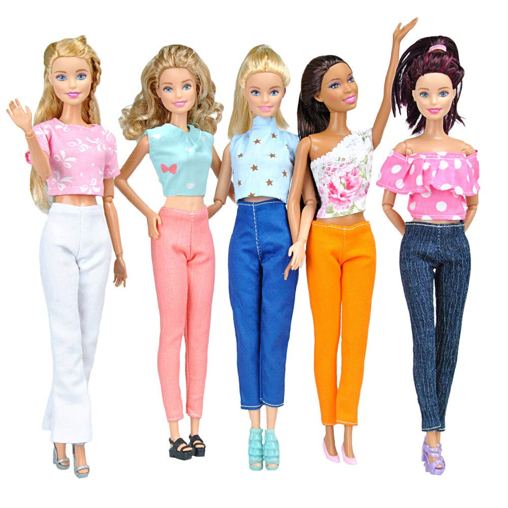 E-TING 5 Set Doll Clothes Outfit 5 Tops 5 Trousers Pants for Girl Doll Picture Style Gift