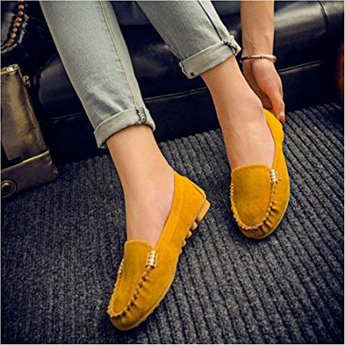 Moaeuro - Mocasines de peluche para mujer amarillo