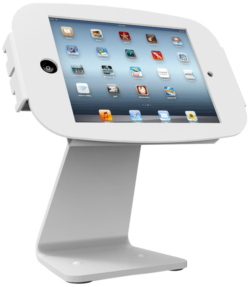 Maclocks 303W235SMENW All-In-One Space Enclosure Kiosk With 360-Degree Rotation for iPad Mini (White)