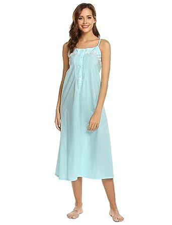 eec727924c Skylin Lady Long Nightgown Summer Slip Night Dress Cotton Sleepshirt  Chemise (Light Blue