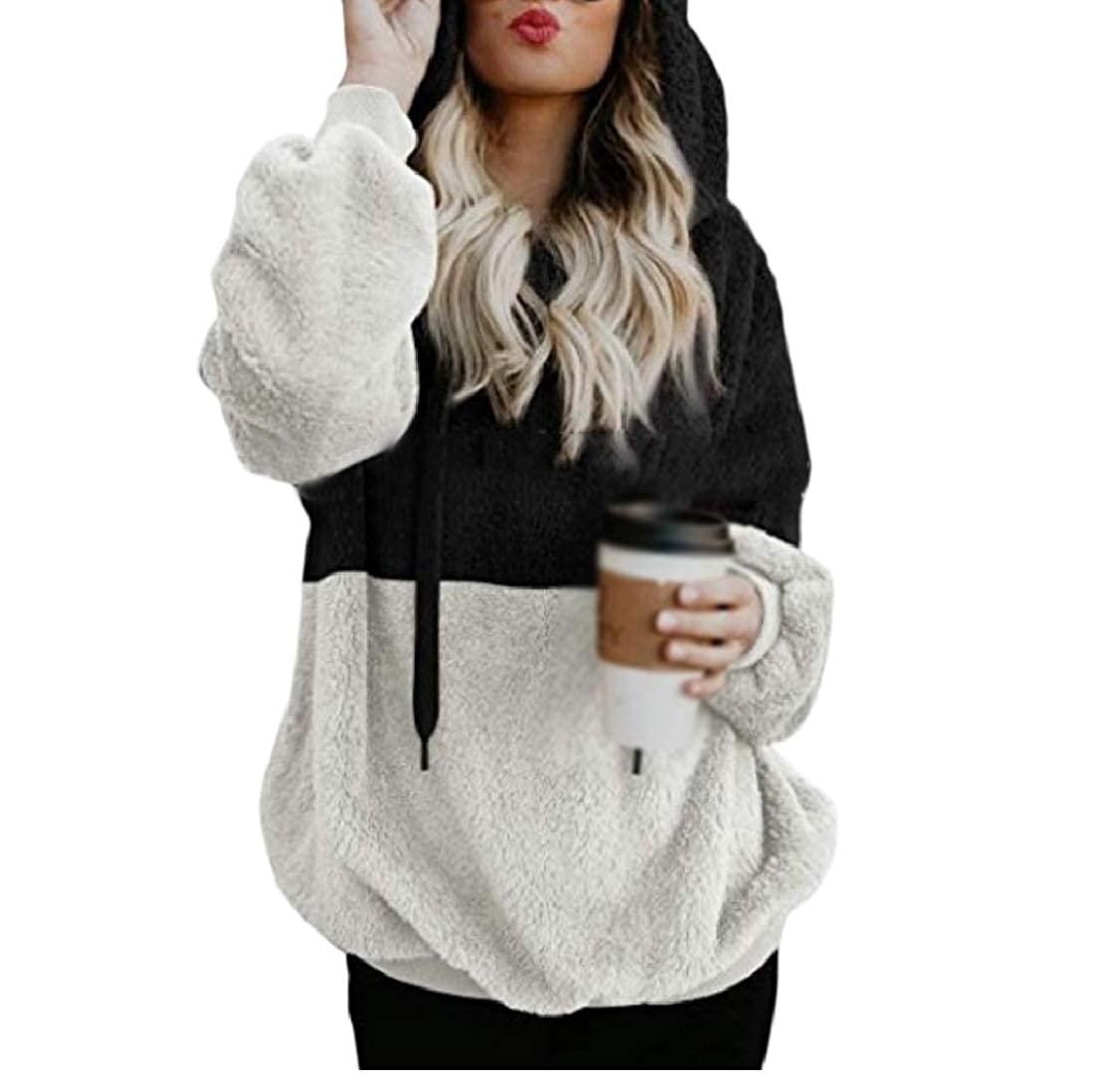 YUNY Women Sweatshirt Hoodie Faux Shearling Pullover Outwear Coat Three XL