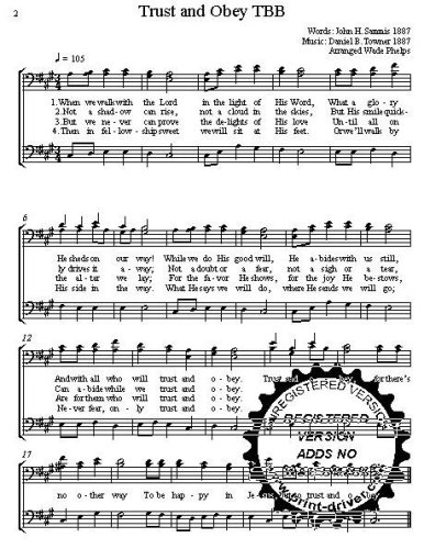 Trust and Obey  A cappella for  TBB Choral Sheet Music