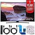 "Samsung UN65MU6500 Curved 65"" 4K Ultra HD Smart LED TV (2017 Model) with 1 Year Extended Warranty + Accessories Bundle"
