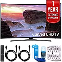 Samsung UN65MU6500 Curved 65 4K Ultra HD Smart LED TV (2017 Model) with 1 Year Extended Warranty + Accessories Bundle