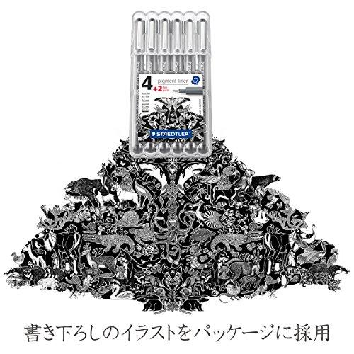 Staedtler 308 SB6P VE Pigment Liner 308 16 x 6 (4+2 Free) Black Pigment Ink Felt Tip Pens for Sketching/Drawing 0.5/0.1/0.2/0.3/0.5/0.8 mm by STAEDTLER (Image #7)
