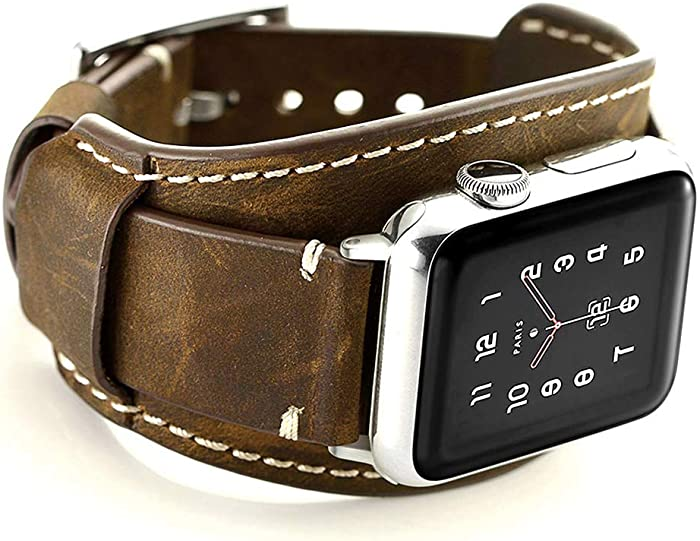 Coobes Compatible with Apple Watch Band 44mm 42mm Men Women Genuine Leather Compatible iWatch Bracelet Wristband Strap Compatible Apple Watch Series 6/5/4/3/2/1 SE (Crazy Horse Cuff Coffe, 44/42 mm)