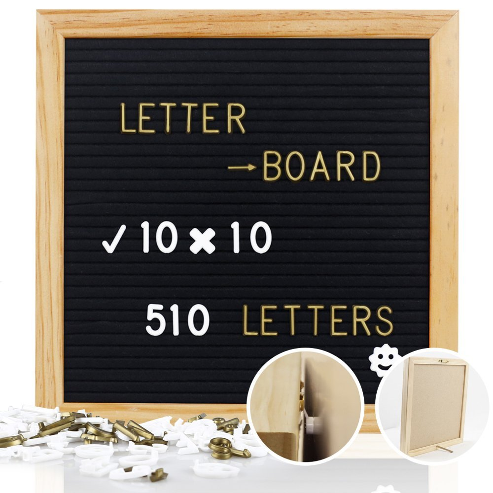 Mtouock Felt Letter Board with 510 Letters - 10 x 10 inches Changeable Letter Boards with Stainless Steel Stand - Message Sign Board, Pine Wood Frame, Wall Mount and Canvas Bag
