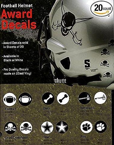 Schutt Decal Football Helmet Award, Skull & Crossbones, White, Pack of 20