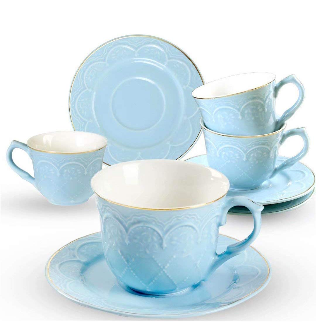 Porcelain Coffee Cups and Saucers Set- 7 OZ Embossed Flower Coffee Cups Set of 4-Blue Tea Cup Sets with Golden Edge Coffee Cups for Mocha Cappuccino