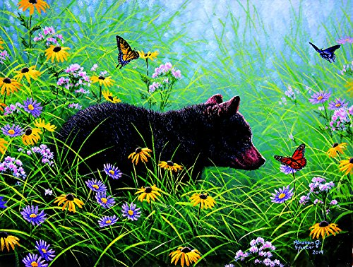 SunsOut Black Bear and Butterflies 500 Pc Jigsaw Puzzle