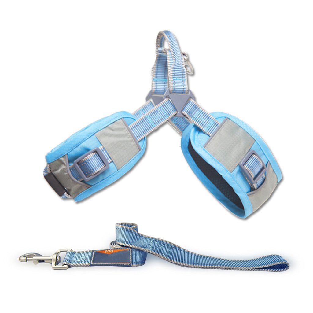 bluee Medium bluee Medium PLDDY Pet Harness, Chest Strap, Dog Collar, Dog Leash, Shiba Inu, Corgi, Hyena, Leash Kit (color   bluee, Size   M)
