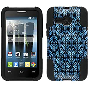Alcatel One Touch Evolve 2 Hybrid Case Victorian Damask Blue on Black 2 Piece Style Silicone Case Cover with Stand for Alcatel One Touch Evolve 2
