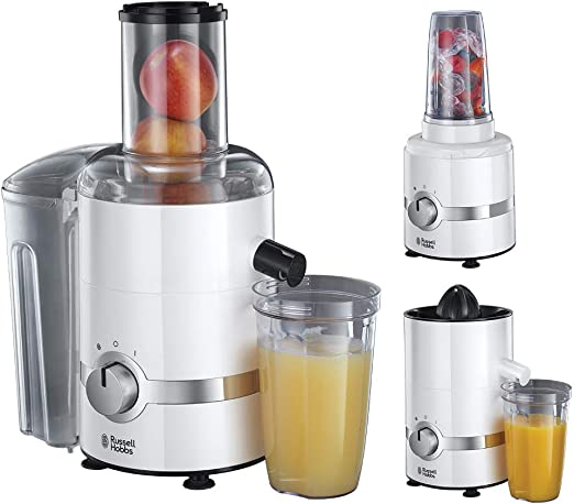 Russell Hobbs 22700 56 3 in 1 Entsafter, Smoothie Maker & Zitruspresse (1,1 PS Motor, 800W, spülmaschinenfeste Teile, BPA frei, Saftpresse Obst &