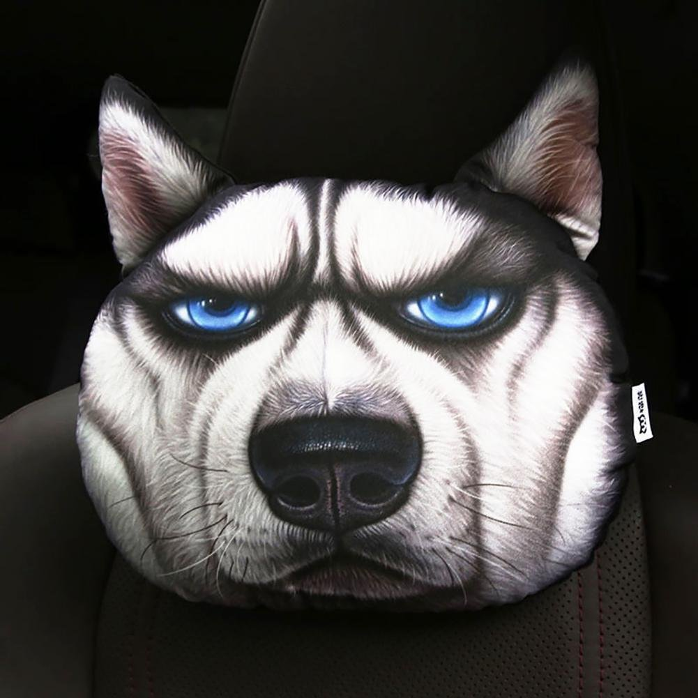 HUANZI 3D Husky Car Headrest Neck Pillow Car Seat Cushion Car Neck Pillow Four Seasons Cartoon Interior Accessories, M
