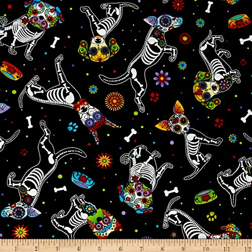 Timeless Treasures 0433734 Day of Dead Pups Black Fabric by The Yard