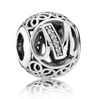 bba81c1db Amazon.com: PANDORA. Charm 791857cz Vintage Alphabet Letter M: Jewelry