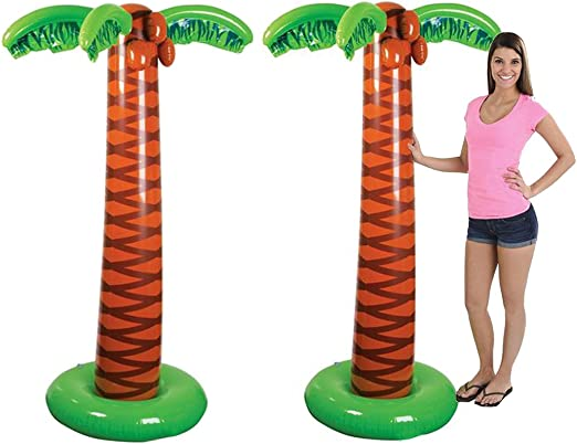 4Es Novelty Pack of 2 Inflatable Palm Trees, Great for Pool and Beach Party