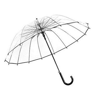 paraguas 16 Hueso paraguas transparente grueso pequeño mango largo fresco doble simple estudiante / paraguas (