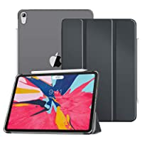 """MoKo Case Fit iPad Pro 11"""" 2018 - Translucent Frosted Back Protector Smart Shell Stand Cover with Apple Pencil's Magnetic Attachment Side Opening Fit iPad Pro 11 Inch - Space Gray(Auto Wake/Sleep)"""
