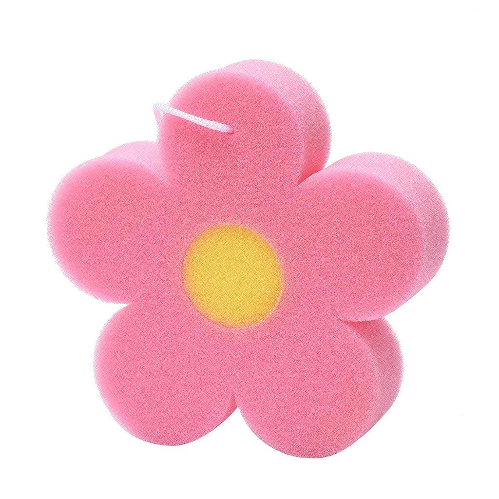Natural Sea Sponges for Babies,Sandistore Bath Sponge Flower Shaped Comfortable Cute Body Sponges Scrubbers for Kids (E)