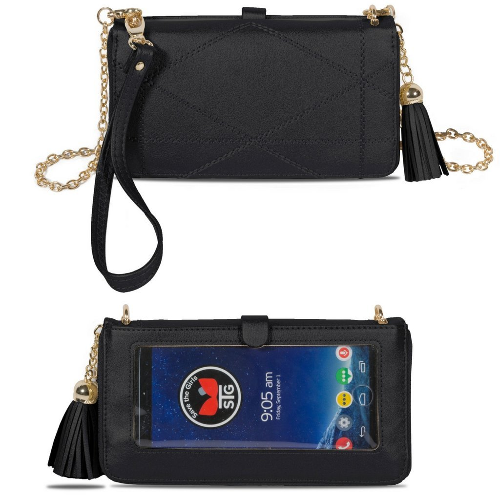 ALLURE (TOUCH SCREEN) PURSES WITH FULL SIZE WALLET (Black)
