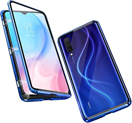 Funda para Xiaomi Mi 9 Lite Adsorcion Magnetica Carcasa 360 Grados Protección Estuche Doble Untre Delgada Vidrio Templado Marco Aluminio Anti Choque Metal Flip Cover: Amazon.es: Electrónica