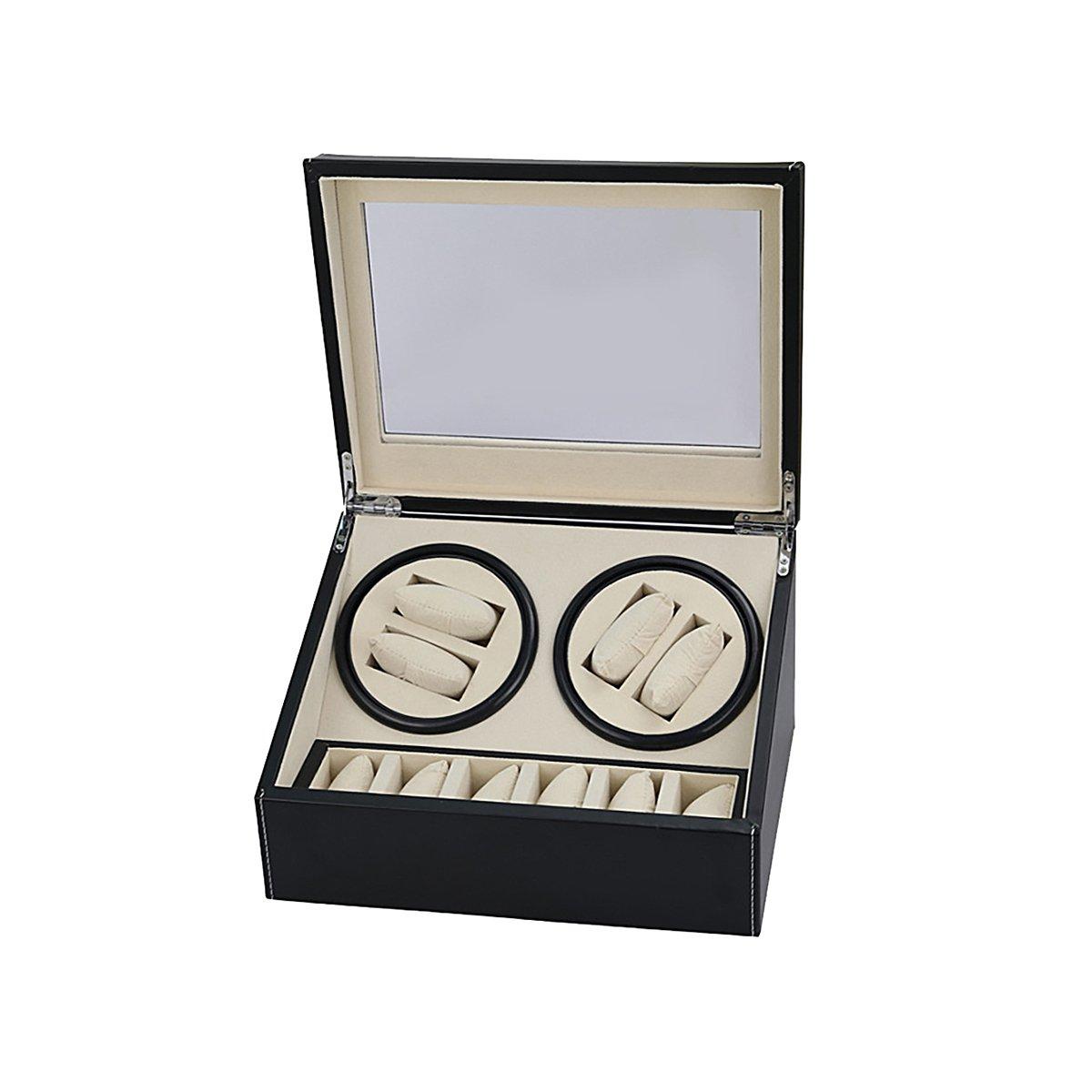 HooAMI Leather Automatic Rotation 4+6 Watch Winder Storage Case Display Box