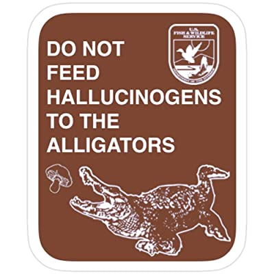 Andrews Mall Do Not Feed Hallucinogens to The Alligators Stickers (3 Pcs/Pack): Kitchen & Dining