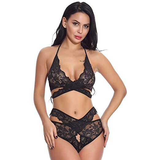 921a297a327 Amazon.com  Women s Lace Bras Panty Lingerie Set